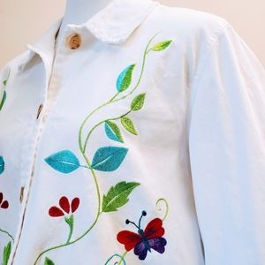 DENIM & CO. Beautiful Embroidered Jacket
